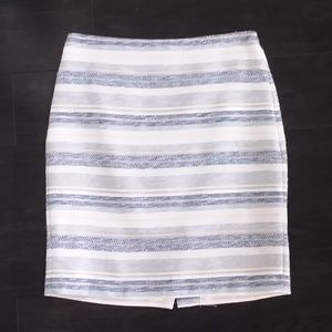 Striped Blue Silver Gold Cream Pencil Skirt Sz. 4